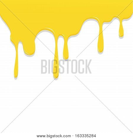 Paint Yellow Color Dripping, Color Droping Background Vector Illustration