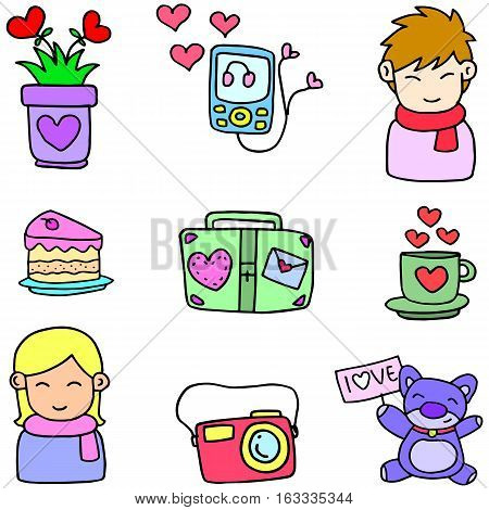 Illustration vector of love doodles collection stock