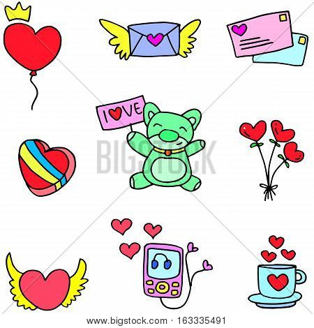 Stock of love romance doodles vector illustration