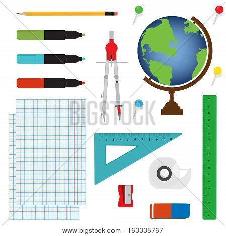 Vector illustration of Back to School supplies. School supplies learning equipment and different school supplies colorful office accessories. School supplies equipment and back to school icons.