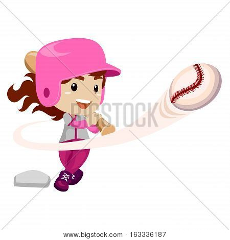 Vector Illustration of Baseball Player hit the Ball