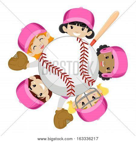 Vector Illustration of Baseball Team Girls around the Ball
