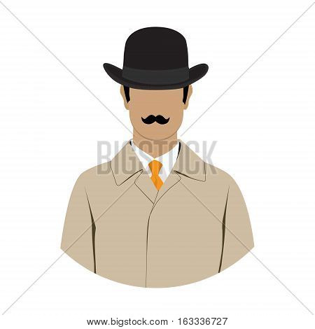Vector illustration detective spy avatar icon. Detective character. Investigator in hat overcoat.