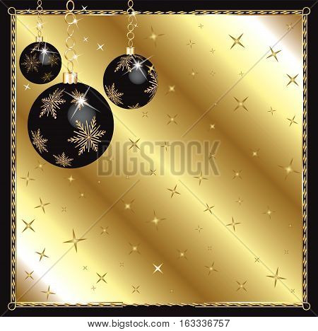 Raster Illustration of a Christmas Black Gold Ornaments.