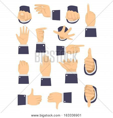 Vector Illustration of Set of Different Hand Gesture