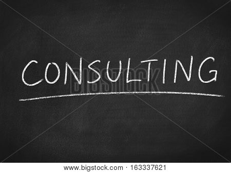 consulting concept word on blackboard chalkboard background