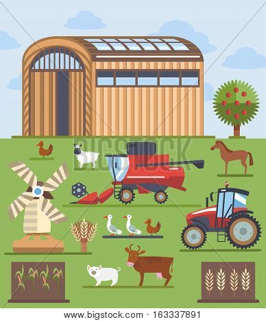 Set of vector modern flat icons, elements, objects on farming and agriculture theme