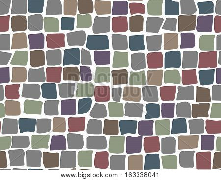 Paving tile floor covering pavement slabs brick wall stone old vintage seamless pattern background texture. Vector closeup beautiful square horizontal illustration top view gray brown ocher rock