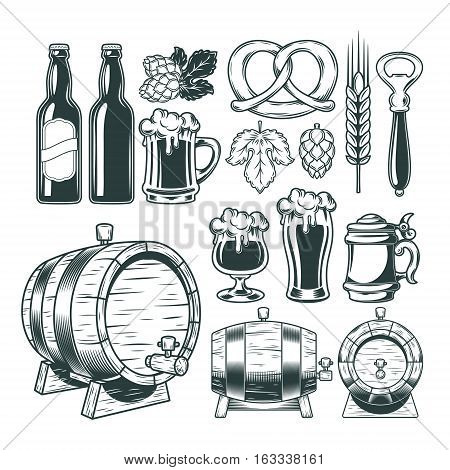 Vector collection of retro icons of beer isolated on white.