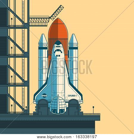 Vector illustration of a retro style rocket is ready for launch.