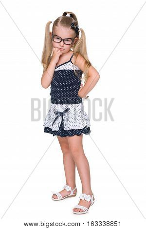 Portrait Of An Upset Clever Little Girl