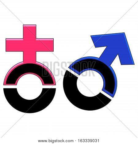 Vector Illustration of Black Male and Female Sex Symbol