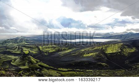 Landscape of Lakagigar valley and Langisjor lake central Iceland