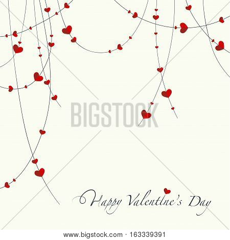 The cover design for the Valentine's day.The decorative garland with the red hearts on it and the phrase Happy valentine's day at the bottom of the image.