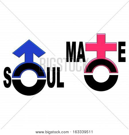 Vector Illustration of Set of Soulmate Symbol