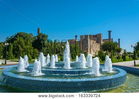 The Fountain In The Park Near The Registan Square, Samarkand, Uzbekistan.