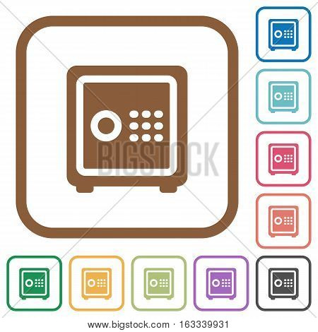 Strong box simple icons in color rounded square frames on white background