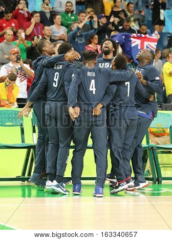 RIO DE JANEIRO, BRAZIL - AUGUST 10, 2016: Team United States celebrates victory  after group A basketball match between Team USA and Australia of the Rio 2016 Olympic Games at Carioca Arena 1