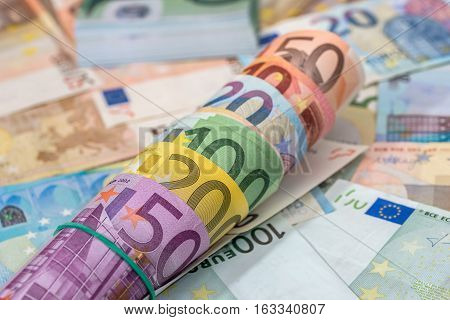 background of lots mixed euro bills. macro