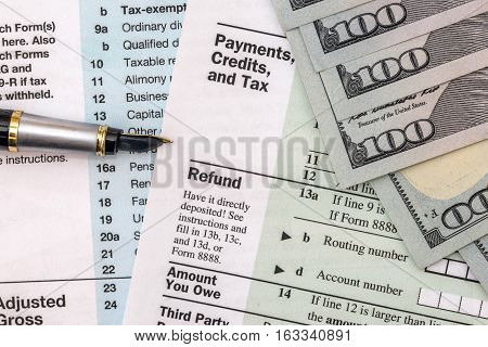 2017 tax form 1040 with us dollar