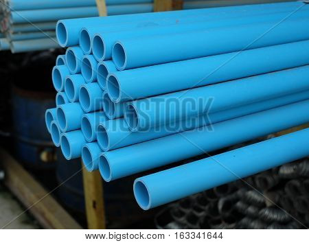 Blue PVC pipe, PVC pipe for water.