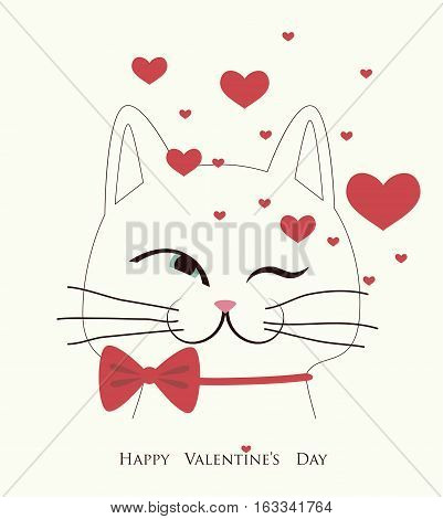 The cover design for Valentine's Day.The white cat with the red bow ant the hearts.In the bottom of the image the phrase Happy Valentine's day.