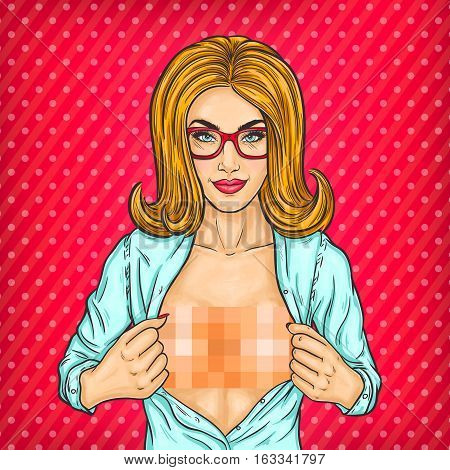 Vector pop art illustration of a woman unbuttoning her blouse and shows naked breasts
