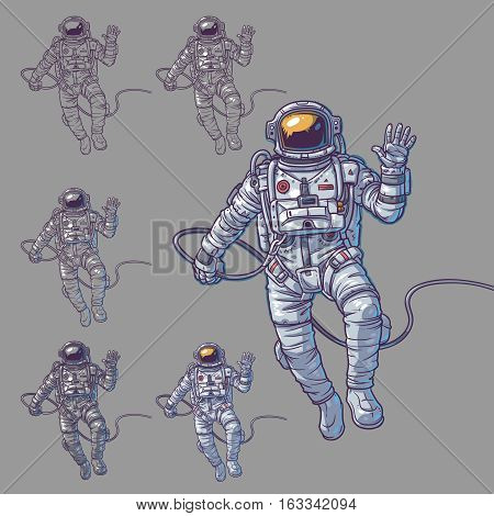 Vector set of illustrations cosmonauts, astronauts on a white background. Print for T-shirts