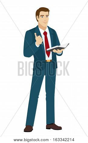 Businessman with pen and pocketbook. Vector illustration.