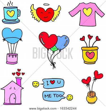 Love vector art doodles design collection stock