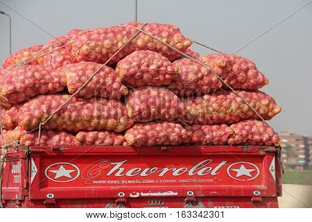 Rear view of a truck transporting loads of vegetables in Cairo, Egypt, October 2014