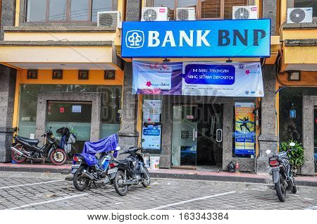 Bali.Indonesia-May 28,2010:Building of bank the BNP in Bali,Indonesia on May 28,2010.Establiched since 1970 & is currently the only French bank that has a fully licensed subsidiary Bank in Indonesia