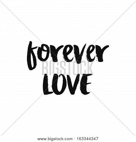 Vector calligraphy. Hand drawn lettering poster, paint with brush. Vintage romantic typography card. Isolated phrase on white background. Design for prints, shirts and posters. Forever love