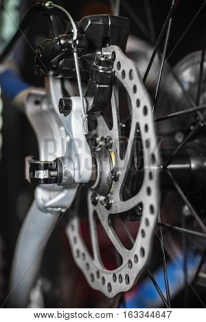 Close view of bicycle rear wheel disk brakes