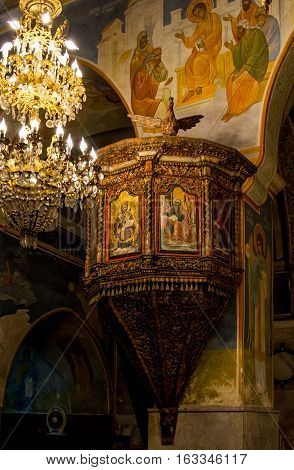 NAZARETH ISRAEL - DECEMBER 16: Interior of the Greek Orthodox Church of the Annunciation in Nazareth Israel on December 16 2016