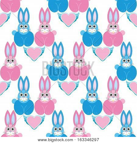 Seamless pattern, cartoon illustration with rabbits on Valentine s Day