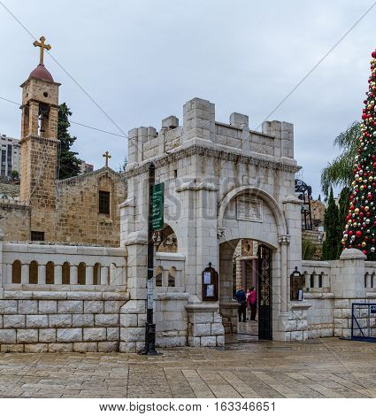 NAZARETH ISRAEL - DECEMBER 16: Gate of the Greek Orthodox Church of the Annunciation in Nazareth Israel on December 16 2016