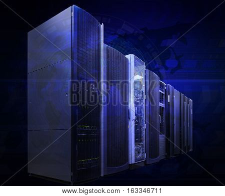 futuristic tech scheme on background mainframe of server room