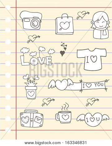 Illustartion love design for paper collection stock