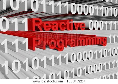 Reactive programming in the form of binary code, 3D illustration