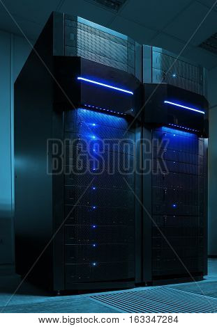 stand mainframe in the data center. Blue tone