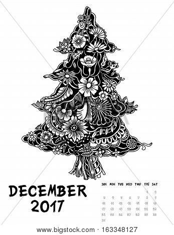 December 2017, Line Art calendar page of month. Christmas tree of flowers. Black and white illustration.