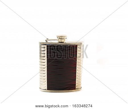 metallic, metal, drink, shiny, alcohol, object, flask, steel, whiskey,