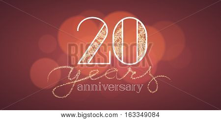 20 years anniversary vector illustration, banner, flyer, icon, symbol, sign, logo. Graphic design element with bokeh effect for 20th birthday card