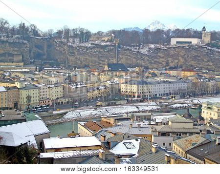 Salzburg with snow on the winter day, Austria