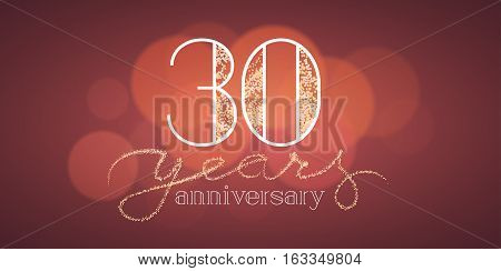 30 years anniversary vector banner, icon, logo. Graphic design element with bokeh effect for 30th birthday card or illustration