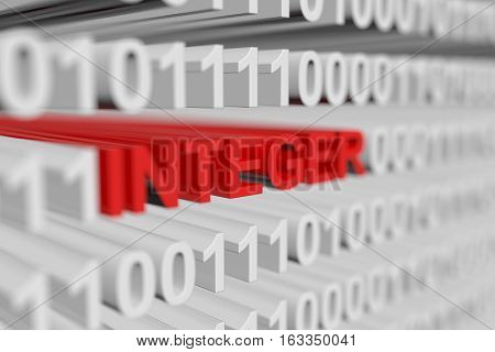 INTEGER as a binary code with blurred background 3D illustration