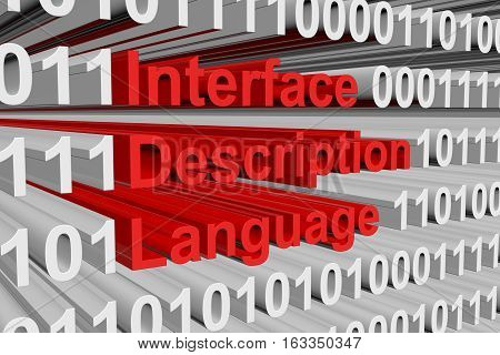 Interface Description Language as binary code, 3D illustration