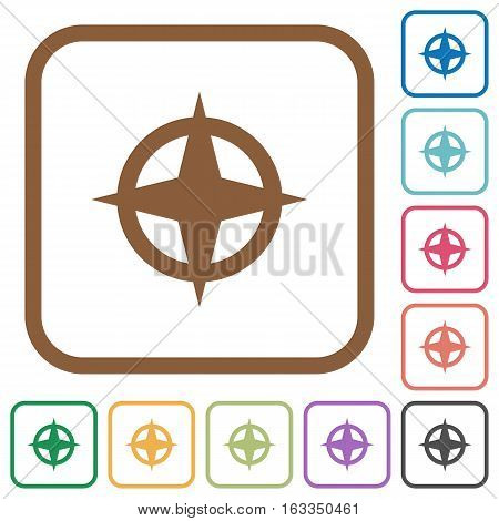 Map directions simple icons in color rounded square frames on white background