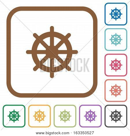 Steering wheel simple icons in color rounded square frames on white background